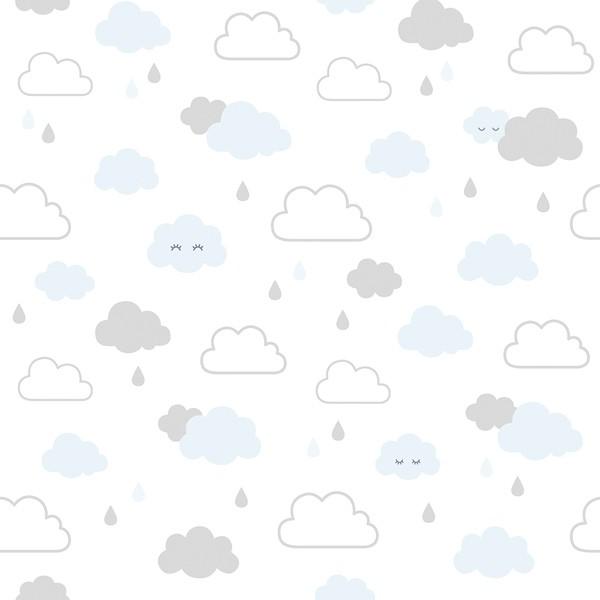 Lilipinso Vliestapete weiß mit blau-grauen Wolken