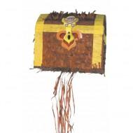 Tim&Puce Piñata Schatztruhe braun-gold/gelb