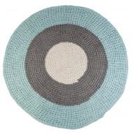 Sebra Häkelteppich blau/grau/beige
