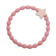 By Eloise Haargummi Armband Silver Star champagne pink