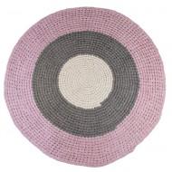 Sebra Häkelteppich rosa/grau/beige