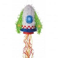 Tim&Puce Piñata Rakete weiß-grün-blau-rot