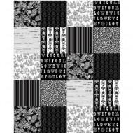 Love Wandbild Patchwork schwarz-weiß