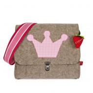 """la fraise rouge Kindergartentasche aus Filz """"Krone rosa"""""""