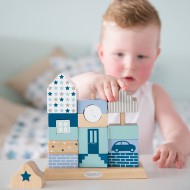 """Little Dutch Holzspielzeug Steckspiel Haus """"Mixed Stars Mint"""" blau/mint/beige"""