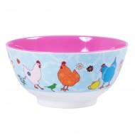 Rice großes Melaminschälchen 2-farbig in pink-türkis mit Hühnern