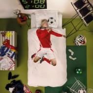 Snurk Bettwäsche Fußballer in rot 135x200cm