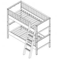 Bopita Mix&Match Nordic Stock- bzw. Etagenbett 90x200cm - schräge Treppe