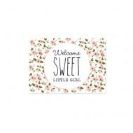 """Little Dutch Postkarte A6 """"Welcome sweet little girl"""" Blümchen rosa"""