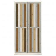 LIFETIME 2-türiger Kleiderschrank in white wash mit Türen in Mixfarben - 104x200cm