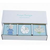 Freya Design Holzboxen 3er Set Blau für erste Erinnerungen