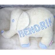 Paulili Kuschelkissen Elefant mit Namen in Hellblau