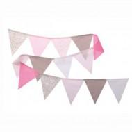 Wimpelkette rosa-taupe-weiß  in 150cm oder 300cm von Annette Frank