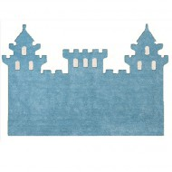 Teppich waschbar hellblau in Schlossform 120x160cm