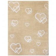 Teppich waschbar beige mit Herzen 120x160cm
