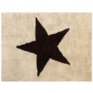 Teppich waschbar beige mit großem, braunem Stern 120x160cm