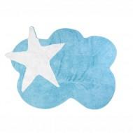 Teppich waschbar blau in Wolkenform mit Stern in weiß 120x160cm