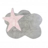 Teppich waschbar grau in Wolkenform mit Stern in rosa 120x160cm