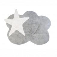 Teppich waschbar grau in Wolkenform mit Stern in weiß 120x160cm
