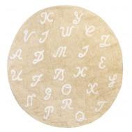Teppich waschbar beige mit Buchstaben, Durchmesser: 140cm