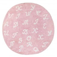Teppich waschbar rosa mit Buchstaben, Durchmesser: 140cm