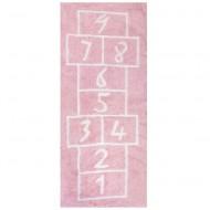 Teppich waschbar Hüpfspiel rosa 90x200cm