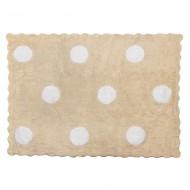 Teppich waschbar beige mit großen, weißen Punkten 120x160cm