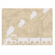 Teppich waschbar beige mit Lokomotive 120x160cm