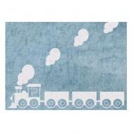 Teppich waschbar hellblau mit Lokomotive 120x160cm
