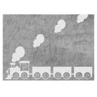 Teppich waschbar grau mit Lokomotive 120x160cm