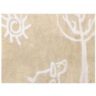 Teppich waschbar beige mit Hund und Baum 120x160cm