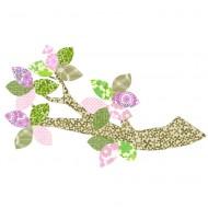 Tapetenast beige gemustert mit Blättern rosa-grün