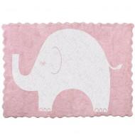 Teppich waschbar rosa mit Elefant in weiß 120x160cm