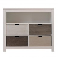 Bopita Basic Wood Kommode mit 4 Boxen white wash