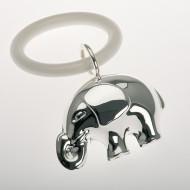 Hochwertige Babyrassel Elefant mit Beißring versilbert