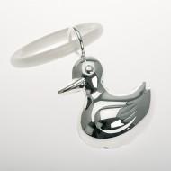 Hochwertige Babyrassel Ente mit Beißring versilbert