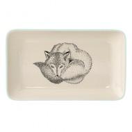 Bloomingville Keramikplatte 'Fuchs' hellblau