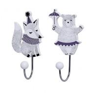Kinder Wandhaken-Set Bär und Fuchs lila