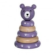 Kinder Steckspiel Bär aus Holz lila