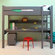 Bopita Mix&Match Combiflex Hochbett XL deep grey 90x200cm mit schräger Treppe - Schreibtischplatte optional