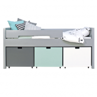 Bopita Mix&Match Kompaktbett Timo 90x200cm in pure grey - Boxen exklusive, Farben frei wählbar