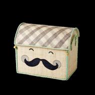 "Rice Spielzeugkorb Größe S in natur ""Smiling Moustache"""