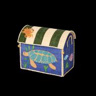 Rice Spielzeugkorb Größe S in blau Meerestiere