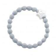 By Eloise Haargummi Armband Silver Star mist grey