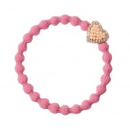 By Eloise Haargummi Armband Bling Heart pink