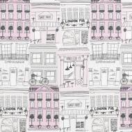 "Casadeco ""Alice & Paul"" Stoff grau-rosa-beige"