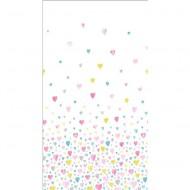 "Casadeco ""Alice & Paul"" Panoramastoff Herzen rosa-türkis-gelb 155 x 280 cm"
