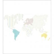 """Casadeco """"Alice & Paul"""" Tapetenwandbild Weltkarte 250x280 cm in blau-gelb"""