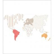 "Casadeco ""Alice & Paul"" Tapetenwandbild Weltkarte 250x280 cm in rot-orange"