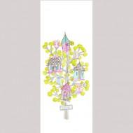Casadeco Arc en Ciel Wandbild Eulen grün-pink 110x280cm